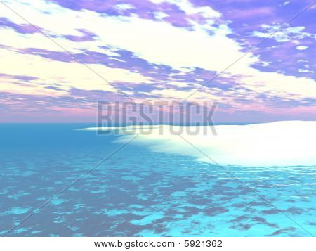 Caribbean Water's Edge - 3D Illustration