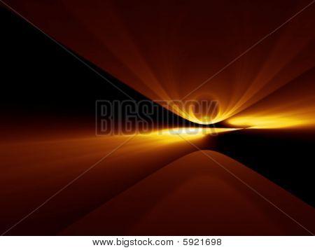 Golden Comet Impact - 3D Fractal Illustration