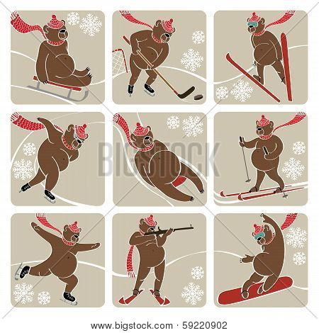 Set Of Brown Bear In Winter Sport.humorous Illustration