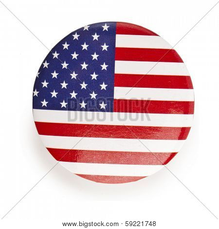 The USA flag in the button pin Isolated on White Background
