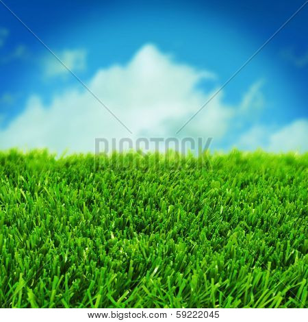 closeup of grass over the blue sky with a retro effect
