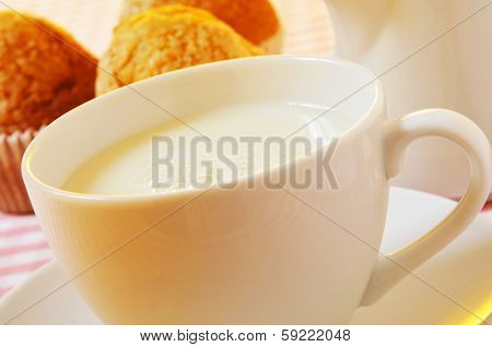 closeup of a cup with milk and a milk pot and some plain muffins on a set table