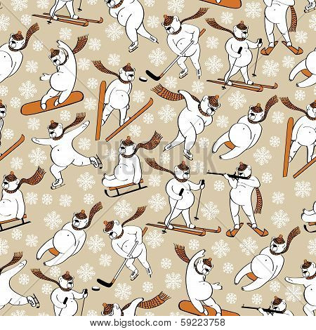 White Bear In Winter Sport.seamless Pattern Or Background.humorous