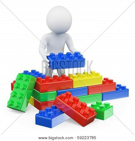 3D White People. Plastic Toy Blocks