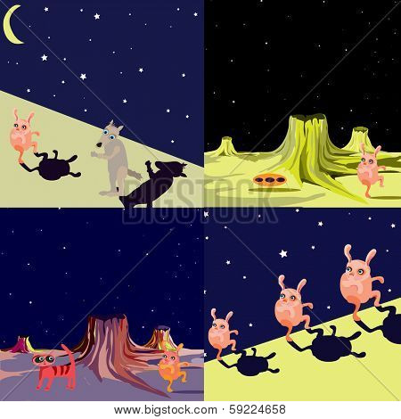 Set of UFO alien flying saucer on another planet - vector illustration in a cartoon style. (UFO vector series)