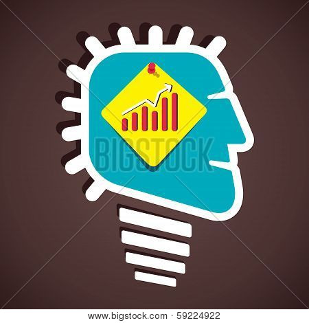 business graph on paper note in human head vector