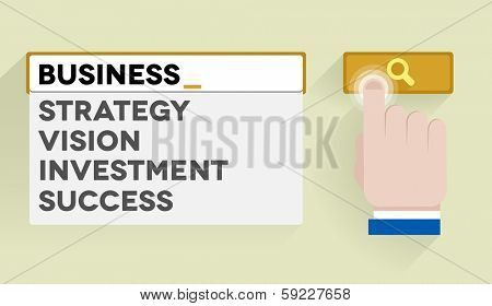 minimalistic illustration of a search bar with business keyword and associations, eps10 vector