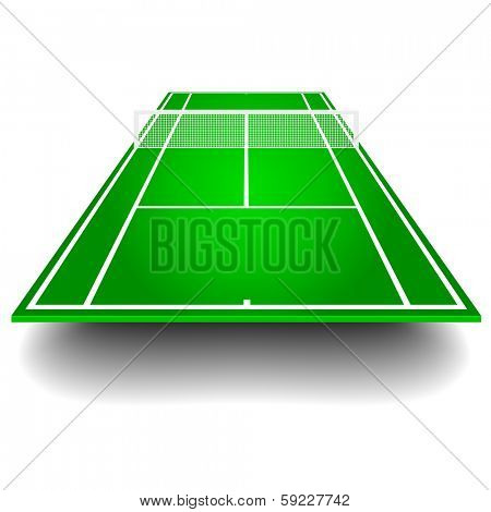 detailed illustration of a tennis court with frontal perspective, eps10 vector