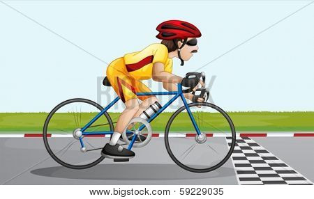 Illustration of a biker near the finish lane