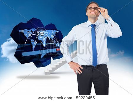 Thinking businessman tilting glasses against steps leading to closed door in the sky