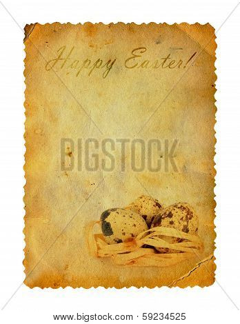 Grunge Carved Postcard With Eggs To Celebrate Easter On The White Isolated Background