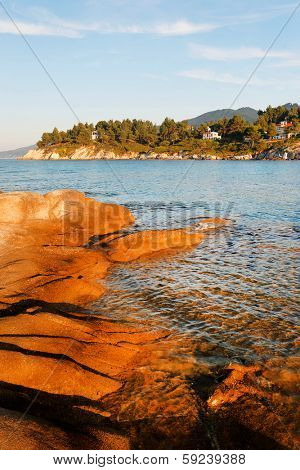 Sunset colors on the Aegean Beach, Greece, Europe