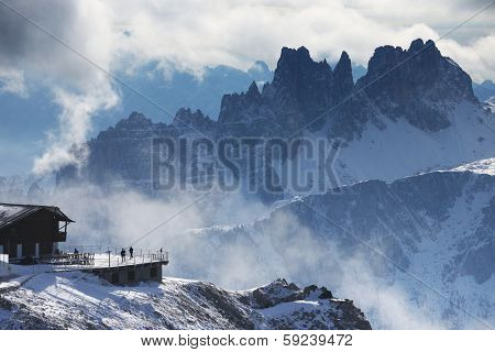 Winter alpine landscape in the Dolomites, Italy, Europe