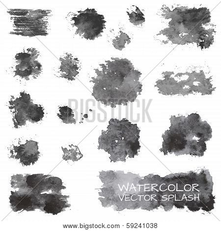 Watercolor vector splashes