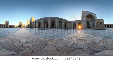 Spherical, 360 degrees panorama (equirectangular projection) of the tiled yard of Poi Kalyan complex. Bukhara, Uzbekistan