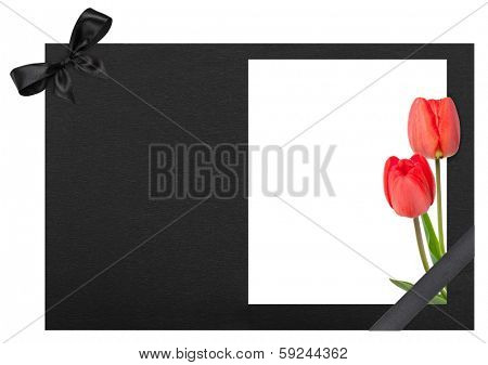 Funeral frame with tulips