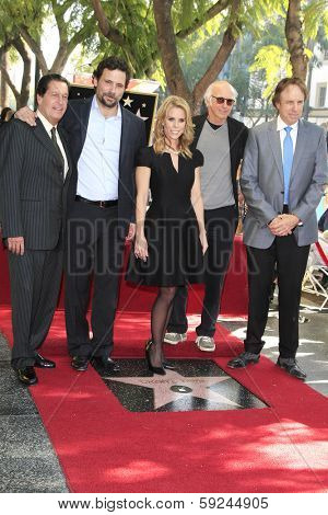 LOS ANGELES - JAN 29: Peter Roth, Jeremy Sisto, Cheryl Hines, Larry David, Kevin Nealon at a ceremony as Cheryl Hines is honored on the Hollywood Walk of Fame on January 29, 2014 in Los Angeles, CA
