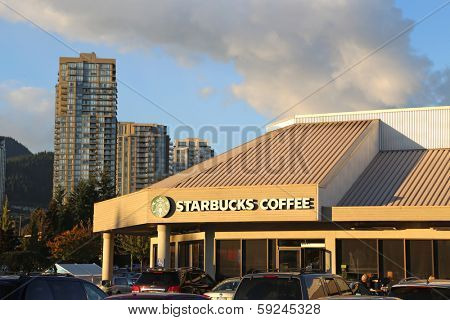 Coquitlam BC, CANADA - October 8: Starbucks coffee October 8, 2013, BC, Canada. Starbucks is the largest coffeehouse company in the world, with 20,891 stores in 62 countries.