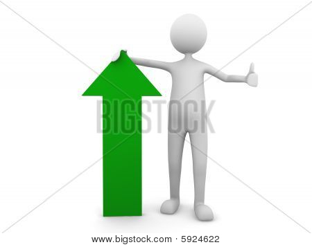 Man leaning to economy green arrow