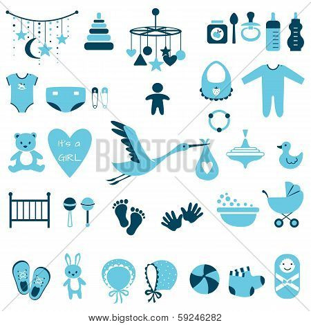 Set of baby shower flat elements