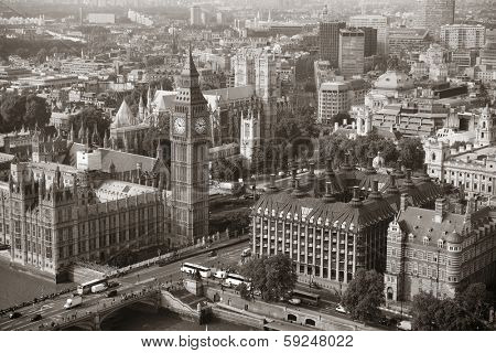 Big Ben and House of Parliament in London viewed from above.