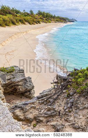 The beautiful Warwick Long Bay beach on the south shore of Bermuda.