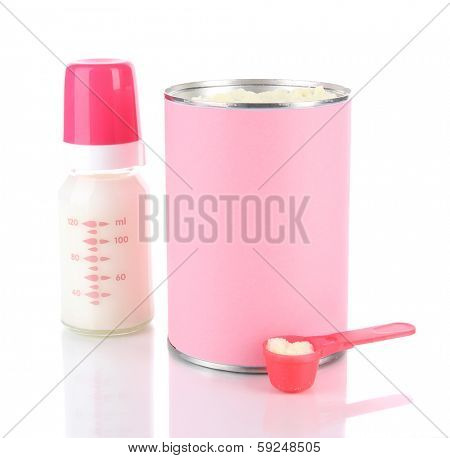 Powdered milk with baby bottle of milk isolated on white