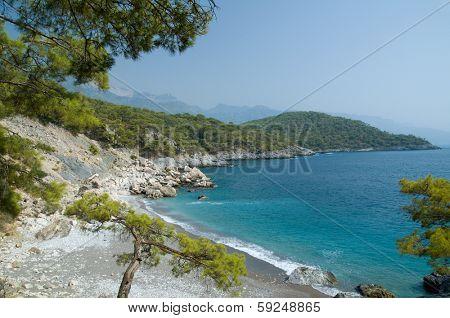 View of Mediterranean coastline in Oludeniz, Turkey