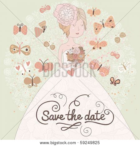 Gentle romantic wedding invitation card with beautiful bride and butterflies. Vector save the date background. Young brunette woman with wedding flowers.