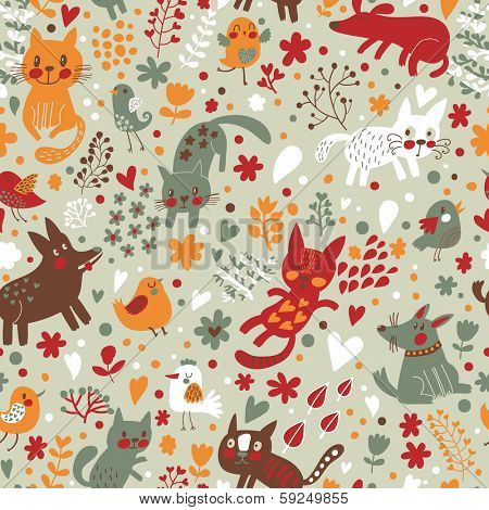 Bright childish seamless pattern with birds, cats and funny dogs in vector. Seamless pattern can be used for wallpapers, pattern fills, web backgrounds,surface textures. Gentle childish wallpaper