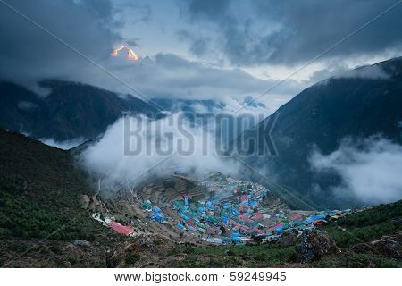 View to Namche Bazar at sunset