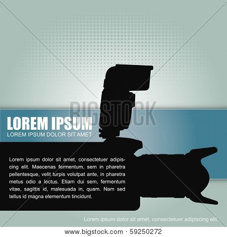 Photography vector background with a silhouette camera with flash and a place for text content. Can be used for brochure, poster, flyer and other printed material.