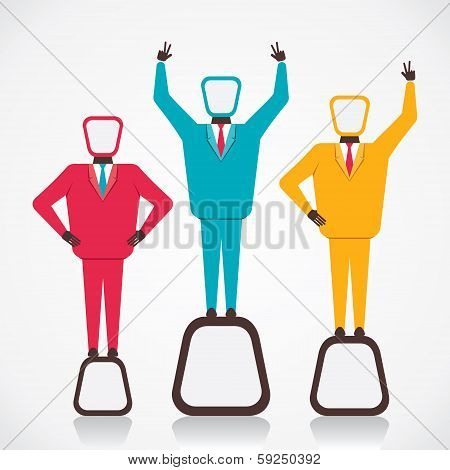 three winner celebrate success vector