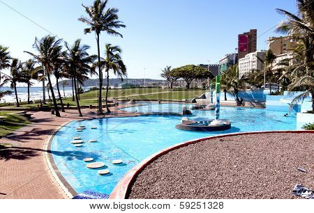 Bright Blue Swimming Pool On Beacfront In Durban