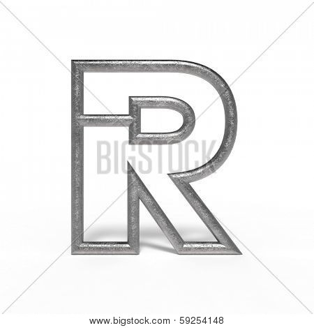 metal letter R isolated on white background