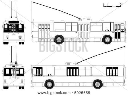 Vector detaillierte Trolleybus draw