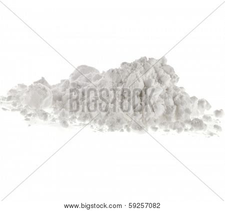 starch heap pile isolated on white background