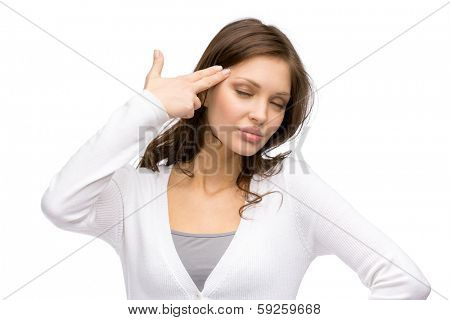 Portrait of woman with closed eyes hand gun gesturing, isolated on white