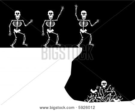 Halloween Greetings. Skeleton Jump