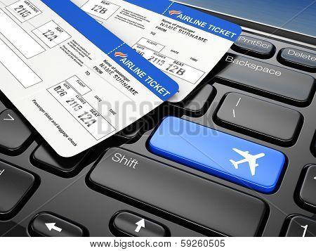 Online booking airplane tickets. Laptop keyboard.  3d