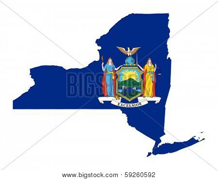 State of New York flag map isolated on a white background, U.S.A.
