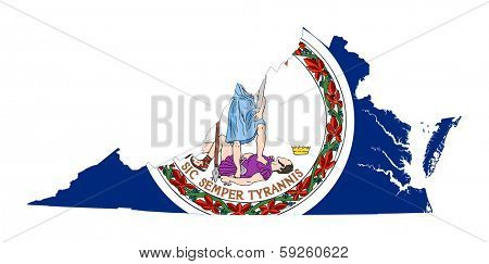 State of Virginia flag map isolated on a white background, U.S.A.