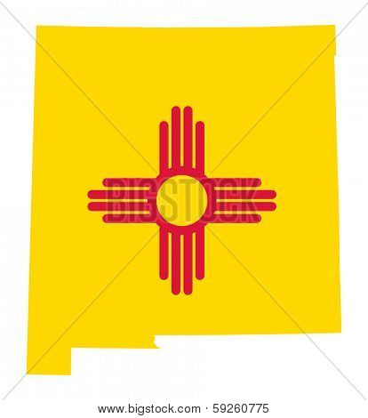 State of New Mexico flag map isolated on a white background, U.S.A.