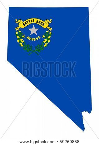 State of Nevada flag map isolated on a white background, U.S.A.