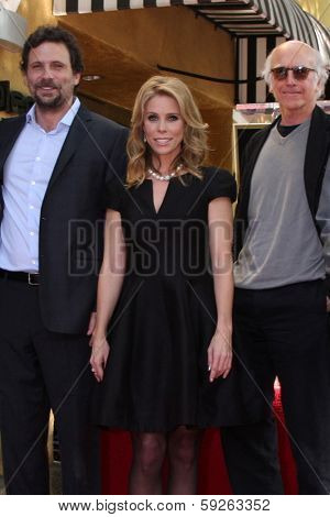 LOS ANGELES - JAN 29: Jeremy Sisto, Cheryl Hines, Larry David, at the Hollywood WOFCeremony for Cheryl Hines  on January 29, 2014 in Los Angeles, CA