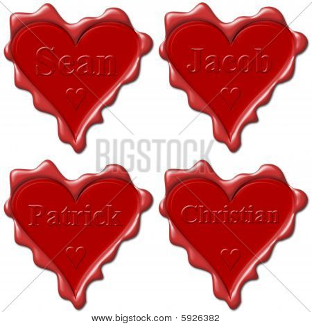 Valentine Love Hearts With Names: Sean, Jacob, Patrick, Christian