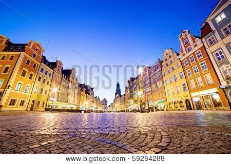 Wroclaw, Poland. The market square at night and St. Elizabeth's Church. Silesia region.