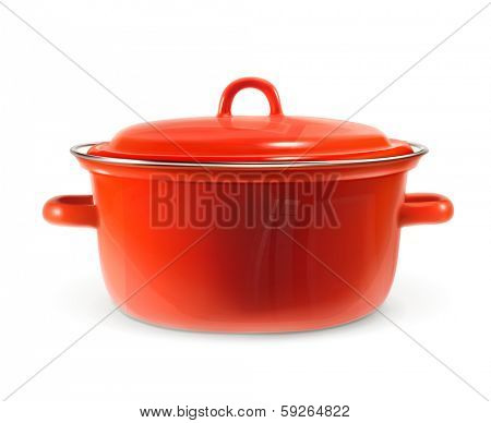 Red saucepan, photo realistic vector illustration