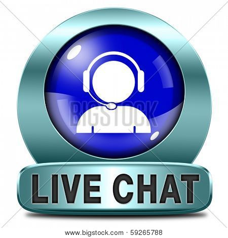 live chat blue icon. Chatting online button.
