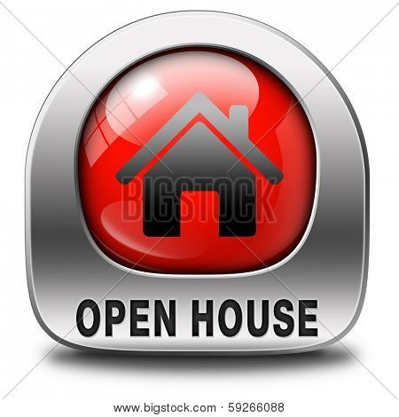 Open house red sign banner or placard for renting or buying a new home visit a real estate property model house